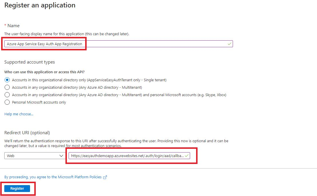 App registration for App Service Easy Auth Step 3